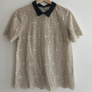 Madewell Beige High Collar Lace Blouse